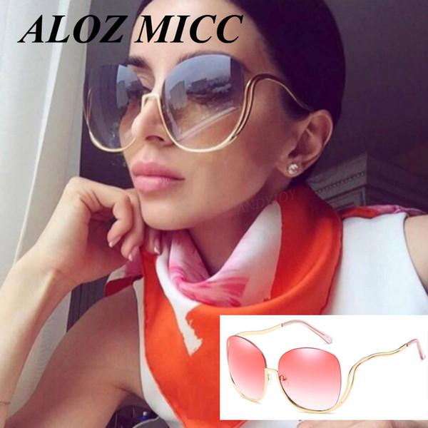 ALOZ MICC Elegante Senhora Half-Frame Óculos De Sol Para As Mulheres Oceano Lente Gradiente Design Da Marca Oversize Óculos De Sol UV400 Shades A338