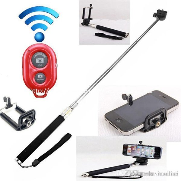 Extendable Handheld Selfie Stick Handheld Monopod+Clip Holder+Bluetooth Camera Shutter For iPhone Samsung 3 In 1 Kits With Retail Package