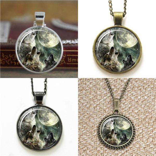 10pcs Wolf Moon Art Collana pendente in vetro portachiavi segnalibro gemello braccialetto orecchino