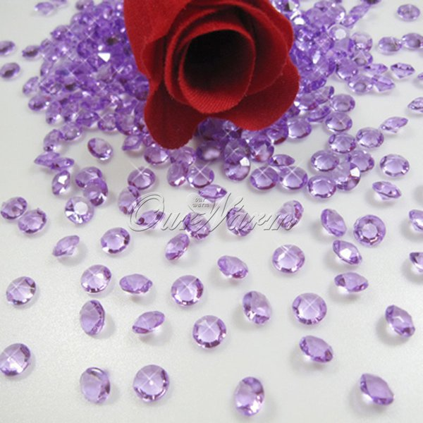 1000pcs 6.5mm 1Carat Lavender Acrylic Crystal Diamond Confetti Wedding Table Vase Decoration