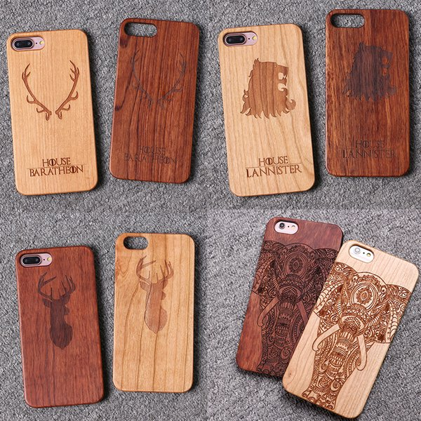 The Game House Stark Laser Engraved Real Wood Case For iPhone 5 6 6S 6Plus 7 7Plus SAMSUNG S6 S7 Edge S8 Plus