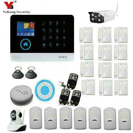 Wholesale- YobangSecurity Wireless Wifi Gsm ANDROID IOS APP Touch Screen Keypad Home Security Alarm System with Outdoor Indoor IP Camera