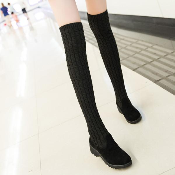 2017 nuevas botas sobre la rodilla mujer suéter de lana elástica plana calcetines botas mujeres otoño invierno largos zapatos de estudiante estilo universitario