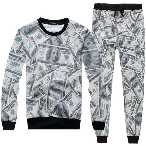 Funny Fashion Men Women The Money Dollar Print 3D Hoodie + Pants Unisex Tracksuits Emoji Printed Joggers Outfit Sweatshirts Sweatpants Set