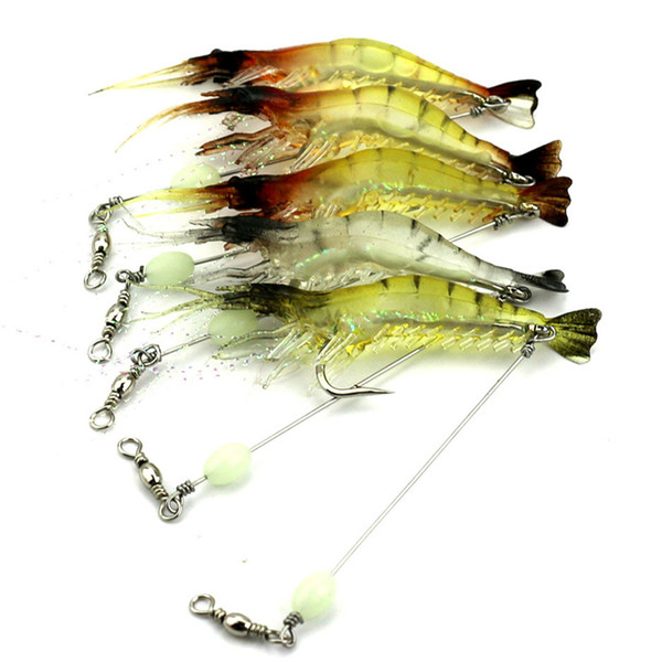 9cm 6.6g/PC Soft Fishing Lure Shrimp Luminous Artificial Bait With Swivel Fishing Lures Baits