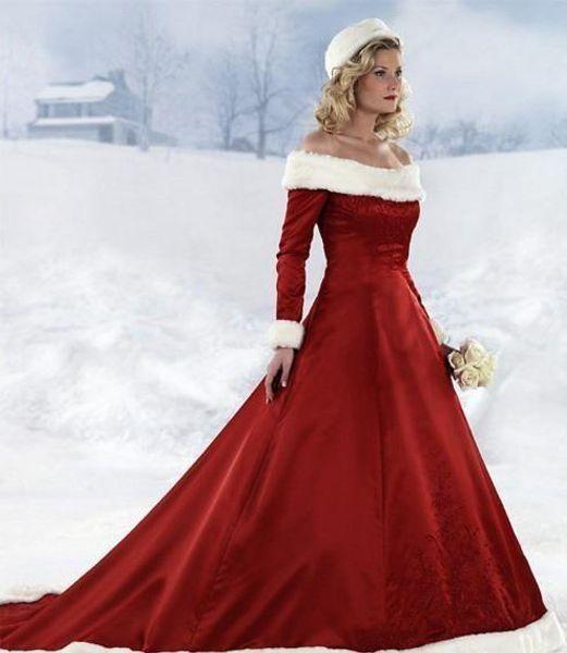 long sleeve Red Christmas dresses Hot New winter fall dresses A-line Wedding Dressesn Off-shoulder Satin Floor-Length 2017 Bridal Dresses