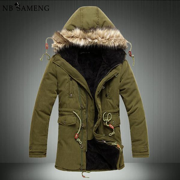 Wholesale- Men'S Parkas Men Winter Cheap Down Jacket Fur Coat Causal Long Male Warm Mens Duck Parka Homme Park Brand Clothing Erkek