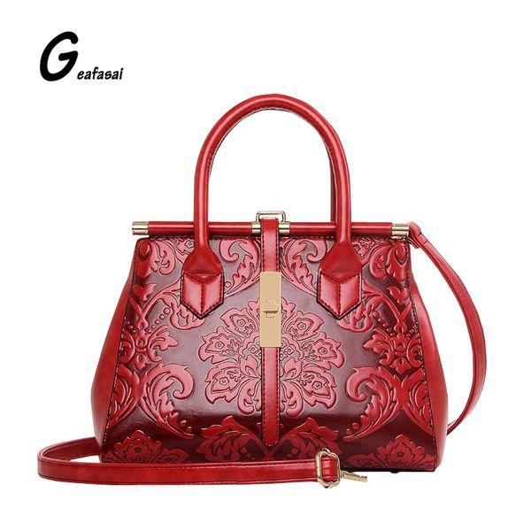 Wholesale- Brand Quality Leather Embossed Leather Women Handbag Fashion Women Bag Shoulder Bag Vintage Chinese Style Ladies Bag sac a main