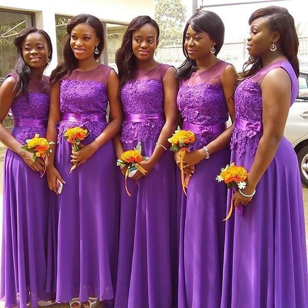 2017 Vestidos de dama de honor de encaje morado Niñas negras Sheer Neck Applique Gasa Vestido de fiesta de boda largo Vestidos de dama de honor Vestidos formales
