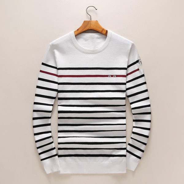 Famous brand autumn fall winter long sleeved sweaters men Round collar stripe wool sweater