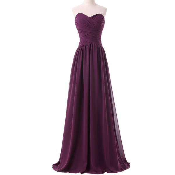 Latest High Quality Sweetheart A Line Floor Length Long Chiffon Purple Evening Dress Stock Formal Party Gown