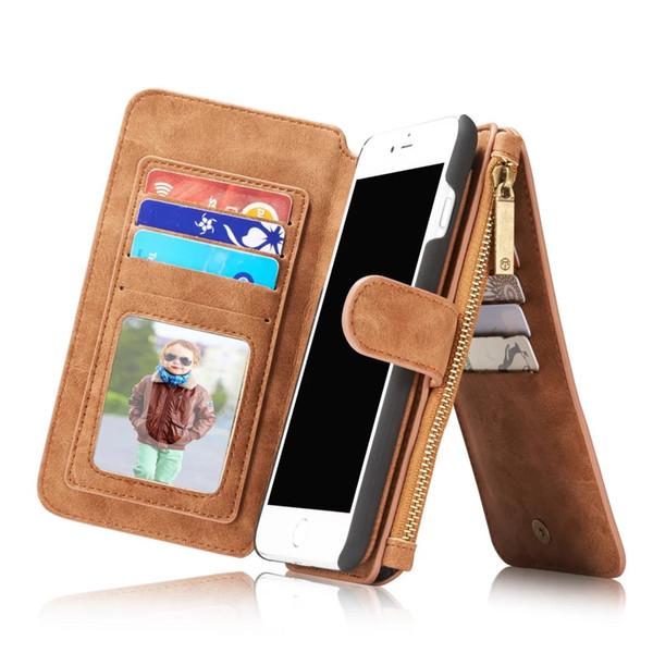 CaseMe Luxo Destacável 2 em 1 Zip Zipper capa Carteira De Couro Stand Case Para iphone 7 iphone 7 plus 6 6 s plus 5 5S 5se frete grátis