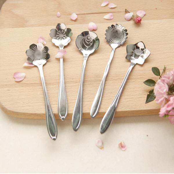 top popular Tableware Flower Shape Sugar Stainless Steel Silver Tea Coffee Spoon Teaspoons Ice Cream Flatware Kitchen Tool Best Price 2019