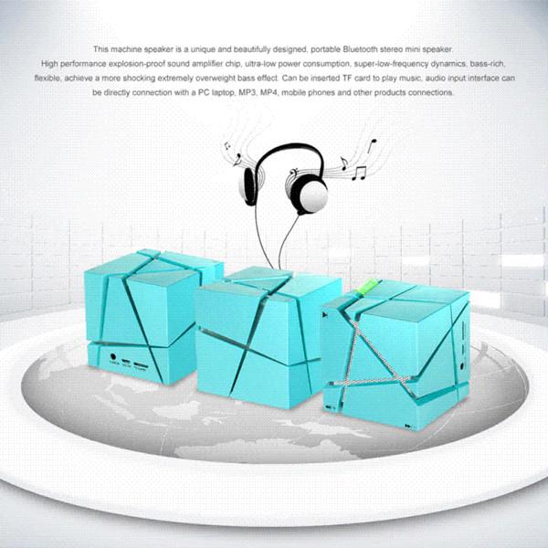 Blue Cube Portable LED Hifi Stereo Wireless altavoz portatil Bluetooth Speaker AUX TF for iphone6 Cheap speaker for mp3 player