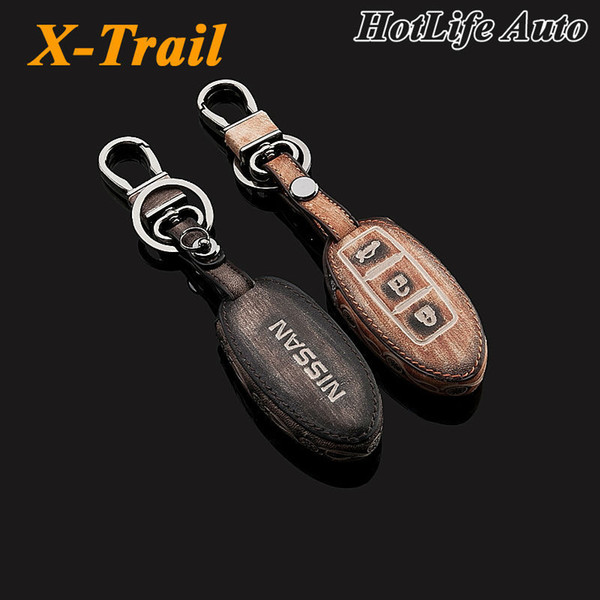 For 2014 2015 X Trail X-Trail Car Keychain Genuine Leather Carve Car Key Case Cover Smart Car Key Chain Ring Auto Accessories