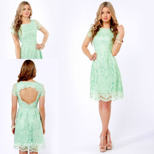 High Quality Mint Green Lace Cocktail Dress Backless Knee Length Short Party Prom and Homecoming Dress Bridesmaid Dress