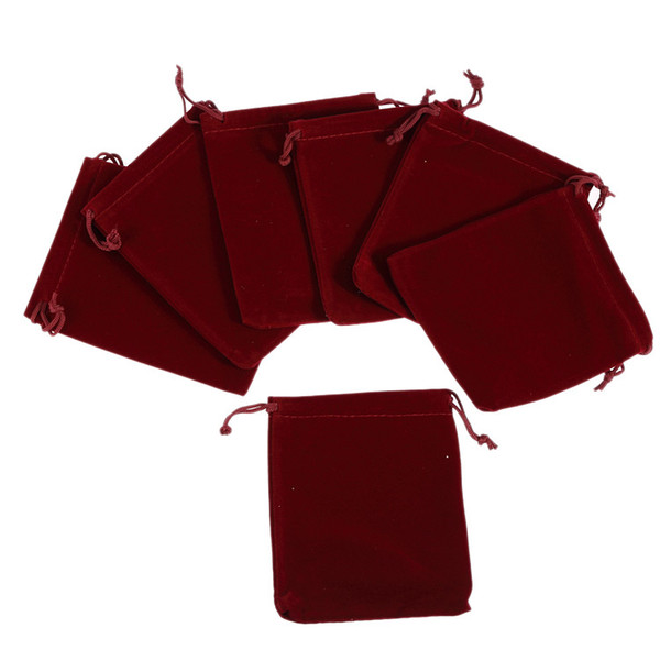 50pcs Fine Velvet Drawstring Gift Bags Wedding Christmas Jewelry Pouches Wine 9 *12cm Jewelry Packaging Display