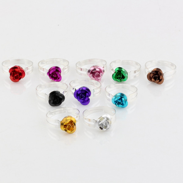 top popular Hot ! 200pcs lots mix color Rose Flower Fresh Rings Resizable DIY Accessories Girls Rings Plated silver 2020
