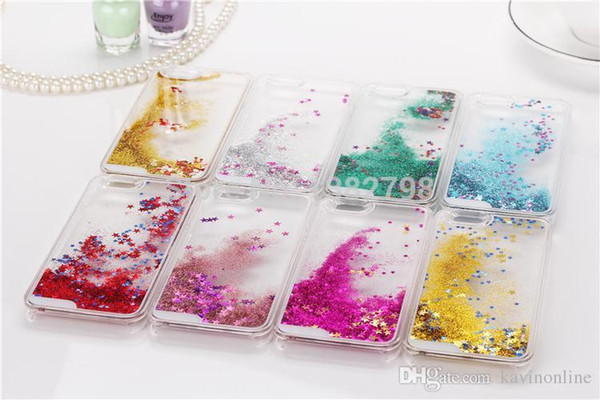 Glitter Love Running Quicksand Liquid Dynamic Hard Case clear transparent shining Cover For iPhone 5c 6s plus galaxy s6 s7 edge plus note5