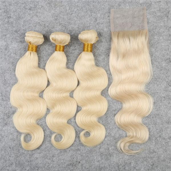 Light blonde 613 Lace Closure With Bundles 4pcs/lot Body Wave Hair Bundles With Closure Free Part #613 Remy Hair Weaves