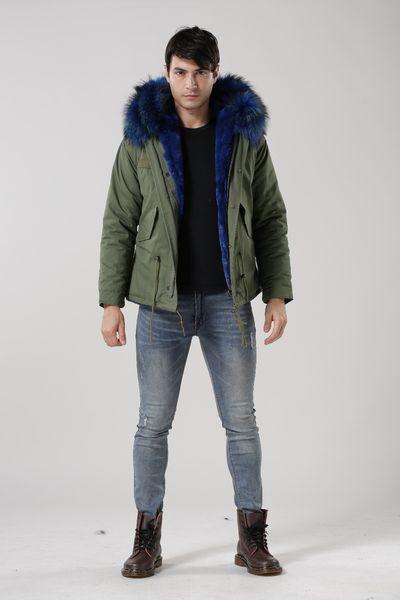 8 colors ! MeiFNG new arrival Blue raccoon dog collar ,hoodies men parka, winter mens blue fur jackets and coats, warm army MR.coat