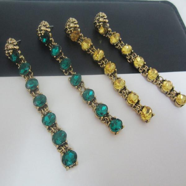 New Vintage Metal lion head stud earrings for women fashion jewelry Crystal long Pendant earrings Bridal brincos Club night accessories 2017