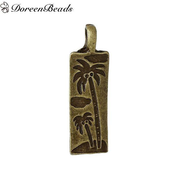 Zinc métal alliage pendentifs Rectangle Bronze Antique noix de coco arbre sculpté 30mm (1 1/8