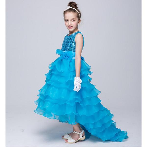 Bela flor menina vestidos para lantejoulas pageant casamento azul vermelho roxo rosa vestido de comunhão de renda para meninas júnior criança vestido