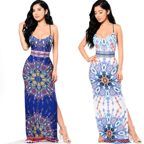 Summer Women Sling Floral Dress Sexy Printing High Split Maxi Dress Fashion Bohemia Female Harness Long Dress