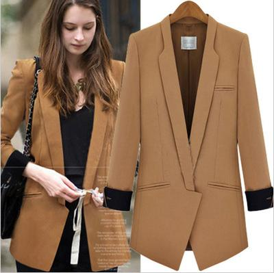 2018 New Brand solid color fashion all-match OL wind Long sleeve coats women Blazer suits S-XL