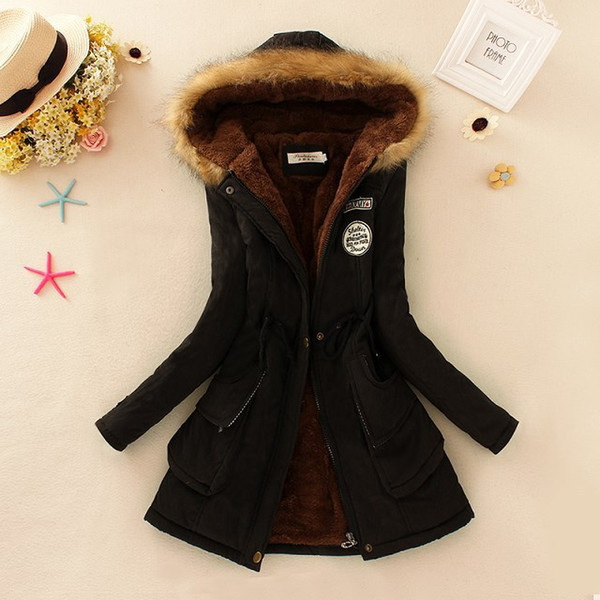 Womens Winter Hooded Coats Pocket Design Solid Color Long Down Parkas Woman Clothes Fashion Slim Outerwear With Fur Ladies Tops