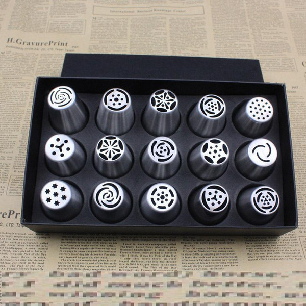 15Pcs/Lot Russian Tulip Nozzles Stainless Steel Icing Piping Nozzles Cakes Cupcakes Rose Pastry DIY Cake Tools Decorating Tips