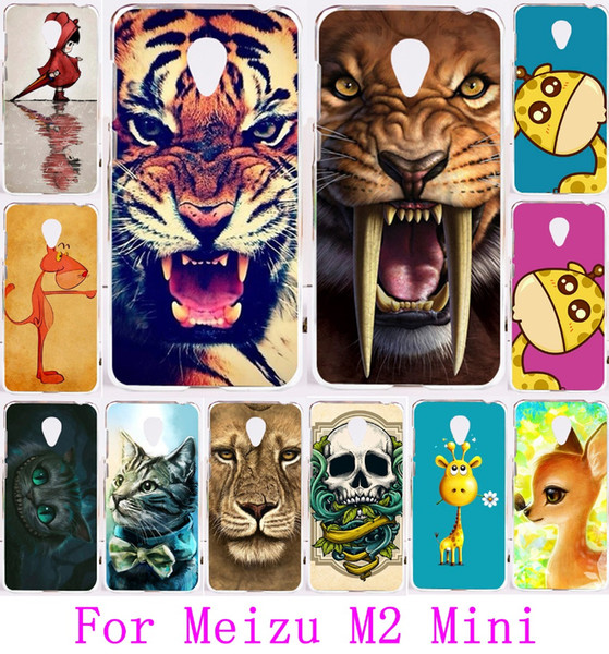 Wholesale-Cute Animal Pattern Lion Tiger Owl Painted Protective Plastic Case For Meizu M2 Mini 5.0 inch Phone Cases Cover Capa Carcasa Bag