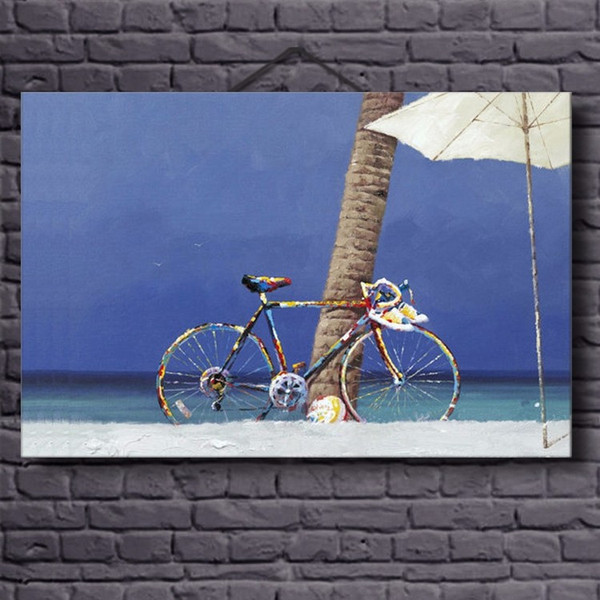 2019 Top Quality Class Modern Bike Sea Landscape Oil Painting 100