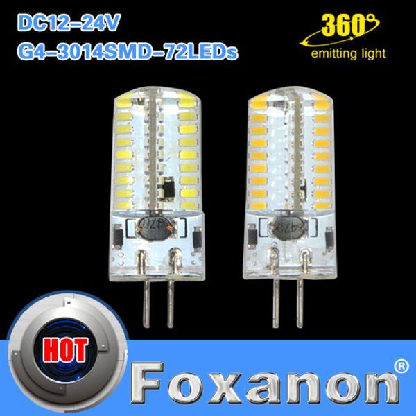Foxanon G4 Bulbo de maíz 3014SMD 72 LED AC DC 12V 24V Diseño de voltaje ancho 7W Silicona Lámparas de luz led Cristal Iluminación 10Pcs / Lot