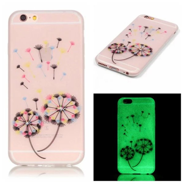 For Iphone 6 6S Plus SE 5S Huawei P9 P8 Lite Honor 5X Luminous Soft TPU Case Cartoon Skin Glow In Dark Flower Tree Skull Deer Love You Cover