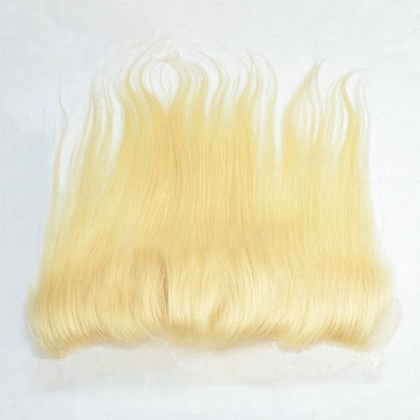Malaysian human hair straight ear to ear full lace frontal free/3/middle part #613 blond lace frontal bleached knots with baby hair