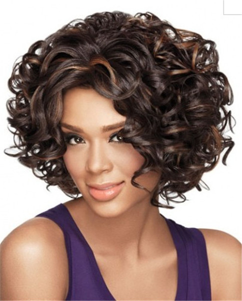WoodFestival afro kinky curly hair wigs medium length heat resistant synthetic fiber wig women brown mix black color costume fashion