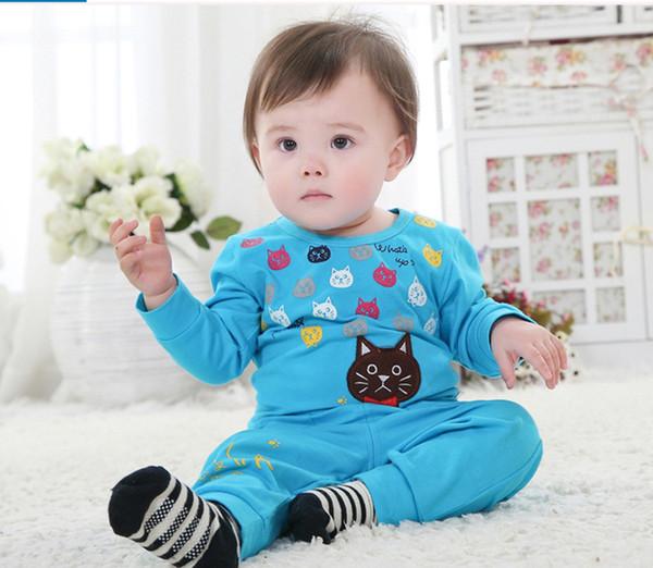 vêtements pour bébés vêtements de bébé plus tard vêtements garçon coton chat mignon manches longues 2pcs costume bébé filles enfants vêtements