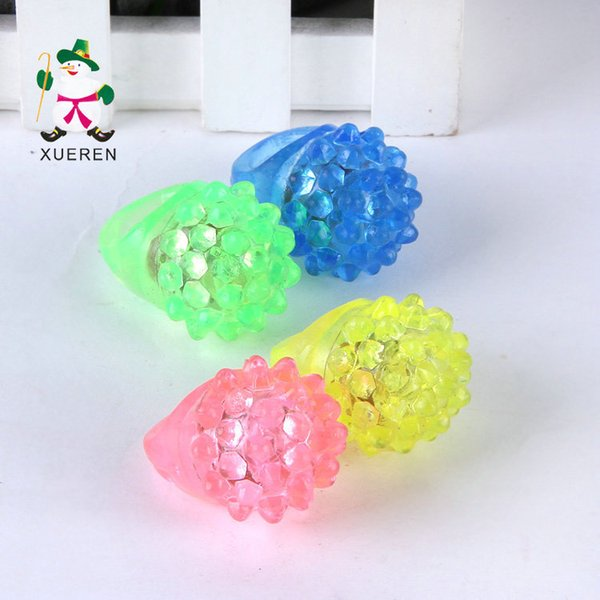 LED Finger Ring Strawberry Crystal Elastic Ring Light LED Flashing Mix Colors For Halloween Christmas Festival Kid Light-Up Toy
