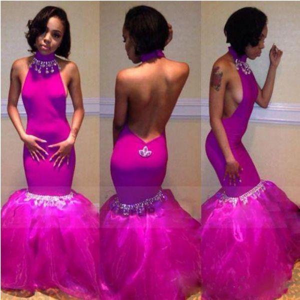 Fushia Farbe Halfter Abendkleider 2k17 Halfter Perlen rückenfreie Abendkleider Meerjungfrau Organza Rüschen bodenlangen afrikanischen Frauen Partykleider