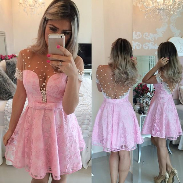 2019 Short Prom Dresses Lace Pink Homecoming Dresses Knee Length Cocktail Party Dresses A Line Jewel with Pearls Short Sleeves Mesh Back