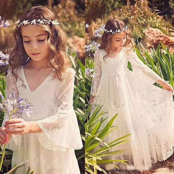Spring 2017 Bohemain Ivory Long Sleeves V Neck Floor Length Full Lace Flower Girls' Dresses For Wedding Party Communion Gown