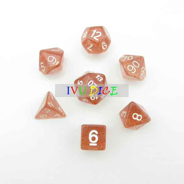 DND Table 7PCS 1set OEM BOARD GAME Dungeons&Dragons number dice star Transparent Brown D4 D6 D8 D10 D12 D20 dices IVU