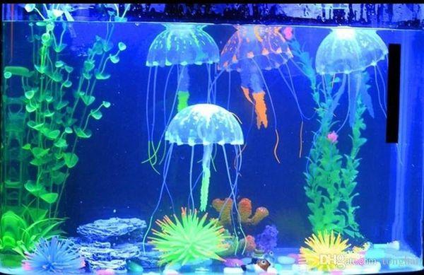 Glowing Artificielle Vivid Jellyfish Silicone Fish Tank Décor Aquarium Décoration Ornement H210462
