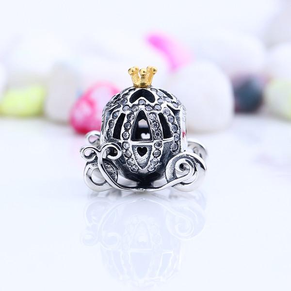 New Echt 925 Sterling Silber Nicht Überzogene Luxus Openwork Kürbis Auto Charme Europäischen Charme Perlen Für Pandora Armband DIY Schmuck