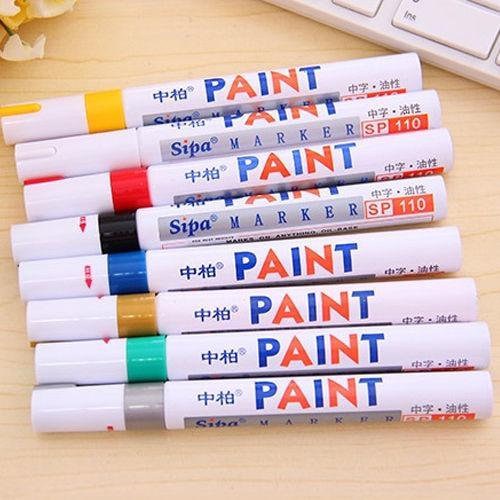 All'ingrosso-2pcs / lot 12 colori auto d'epoca pneumatico Tread gomma metallo permanente pennarello vernice