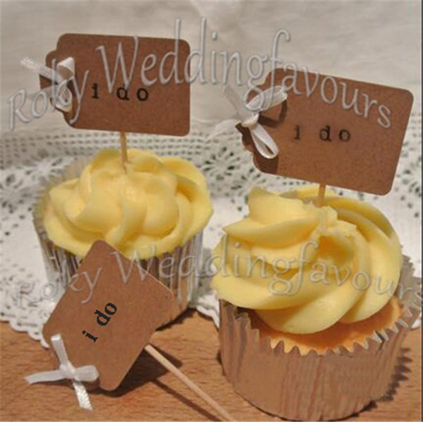 Free Shipping 100PCS I DO Cupcake Picks Wedding Supplies Party Cupcake Picks Topper I DO Toothpicks Favors Table Decoration