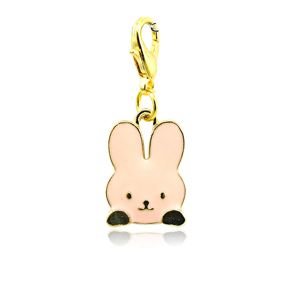 Fashion Floating Charms Gold Plated 4 Color Enamel Rabbit Lobster Clasp Alloy Animals Charms DIY Pendants Jewelry Accessories