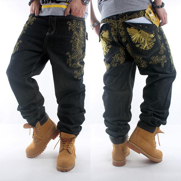 Al por mayor-2016New HIPHOP negro para hombre jeans hip hop bordado de oro suelta estilo holgado muchacho pantalones de mezclilla hombres pantalones vaqueros masculinos más size30-42